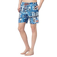 O'Neill - Blue licence plate print swim shorts