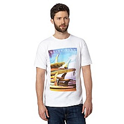 Quiksilver - Big and tall white surfboard print crew neck t-shirt