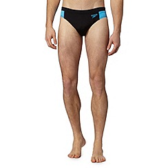 Speedo - Big and tall black side panel swim trunks