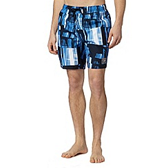 Speedo - Blue printed check swim shorts