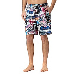 Red Herring - White city print swim shorts