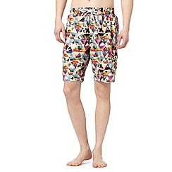 Red Herring - Pale yellow pyramid photo swim shorts