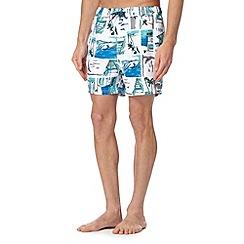 Red Herring - Big and tall white sketch beach swim shorts