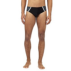 J by Jasper Conran - Big and tall designer black striped side swimming briefs