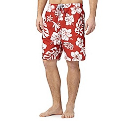 Maine New England - Big and tall red floral print swim shorts