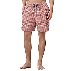 Maine New England - Red gingham checked swim shorts