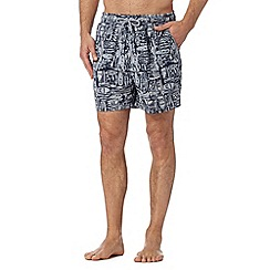 Maine New England - Big and tall navy boat print swim shorts