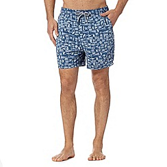 Maine New England - Big and tall blue nautical swim shorts