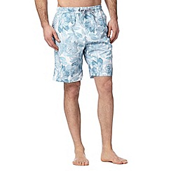 Maine New England - White and blue floral print swim shorts