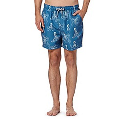 Maine New England - Big and tall blue octopus print swim shorts
