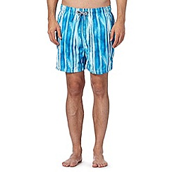 Maine New England - Blue painted stripe swim shorts