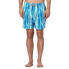 Maine New England - Blue painted stripe swim shorts