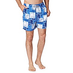 Maine New England - Big and tall blue nautical print swim shorts