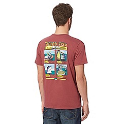 Weird Fish - Big and tall maroon 'Four Step Guide' crew neck t-shirt