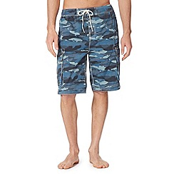 Weird Fish - Blue camouflage cargo swim shorts