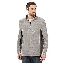 Weird Fish - Big and tall grey panelled zip neck sweatshirt
