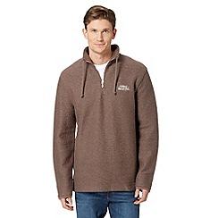 Weird Fish - Dark brown macaroni zip neck sweater