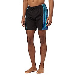 Speedo - Black monogram panel swim shorts