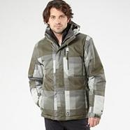 Green check water resistant jacket