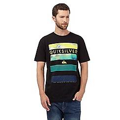 Quiksilver - Black block stripe logo print t-shirt