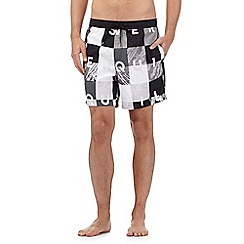 Quiksilver - Black checked print swim shorts