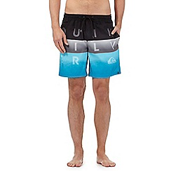 Quiksilver - Blue block striped print swim shorts