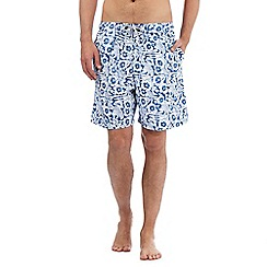 Mantaray - Blue floral hibiscus print swim shorts