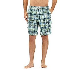 Mantaray - Big and tall green checked print swim shorts