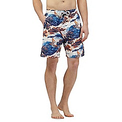 Mantaray - Big and tall blue island print swim shorts