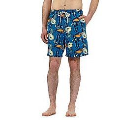 Mantaray - Big and tall bright blue fish print swim shorts