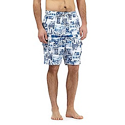 Mantaray - Big and tall blue beach photo print swim shorts