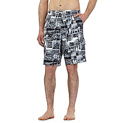 Mantaray - Big and tall grey surfing photo print cargo swim shorts