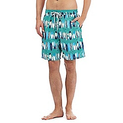 Mantaray - Big and tall green surfboard print swim shorts
