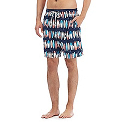 Mantaray - Big and tall blue surfboard print swim shorts