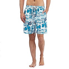 Mantaray - Big and tall turquoise floral print swim shorts