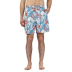 Mantaray - Big and tall blue floral leaf print swim shorts