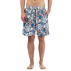 Mantaray - Big and tall blue printed swim shorts