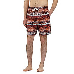 Mantaray - Orange floral striped print swim shorts