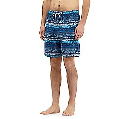 Mantaray - Blue floral striped print swim shorts