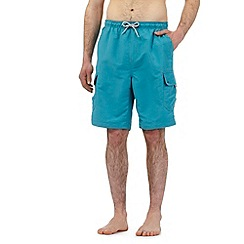 Mantaray - Big and tall turquoise cargo swim shorts
