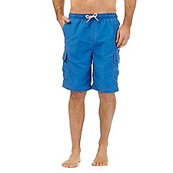 Mantaray - Big and tall bright blue cargo swim shorts