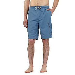 Mantaray - Big and tall mid blue cargo swim shorts