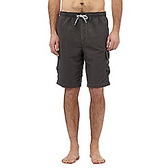 Mantaray - Big and tall dark grey cargo swim shorts