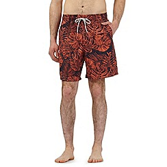 Mantaray - Orange leaf print swim shorts