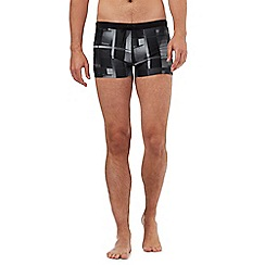 Speedo - Black graphic checked print swim shorts