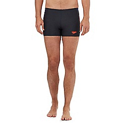 Speedo - Navy side striped print swim shorts