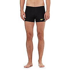 Speedo - Black logo print swim shorts