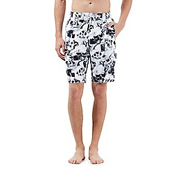 Red Herring - Big and tall white skull print swim shorts