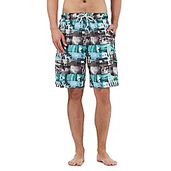Red Herring - Big and tall light blue photographic surfer print swimming shorts