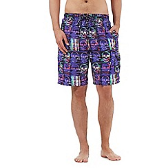 Red Herring - Big and tall purple skull print swimming shorts